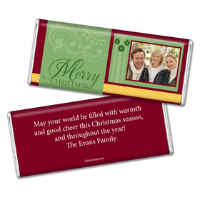Christmas Personalized Chocolate Bar Merry Christmas Photo Green