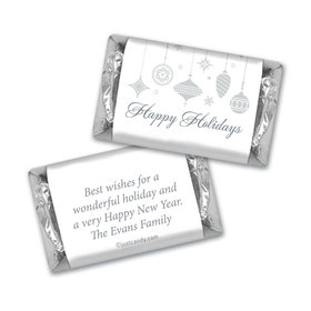 Happy Holidays Personalized Hershey's Miniatures Silver Ornaments Happy Holidays