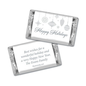 Happy Holidays Personalized Hershey's Miniatures Wrappers Silver Ornaments Happy Holidays