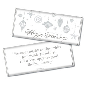 Happy Holidays Personalized Chocolate Bar Silver Ornaments Happy Holidays