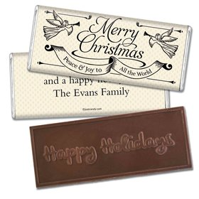 Christmas Personalized Embossed Chocolate Bar Angels Trumpet Peace and Joy