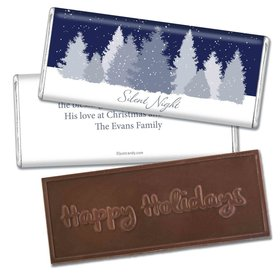 Christmas Personalized Embossed Chocolate Bar Silent Night Snowfall