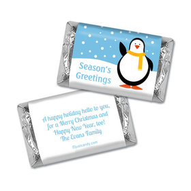Happy Holidays Personalized Hershey's Miniatures Wrappers Season's Greetings Snow Penguin
