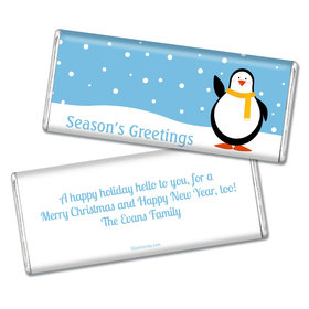 Happy Holidays Personalized Chocolate Bar Season's Greetings Snow Penguin