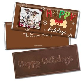 Christmas Personalized Embossed Chocolate Bar Puppy Photo Happy Howlidays