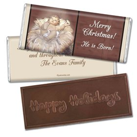 Christmas Personalized Embossed Chocolate Bar Away in a Manger
