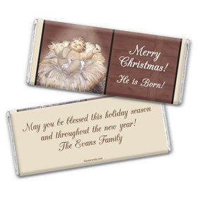 Christmas Personalized Chocolate Bar Wrappers Away in a Manger