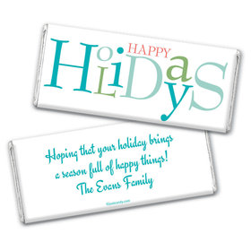 Happy Holidays Personalized Chocolate Bar Wrappers Multicolor Happy Holidays