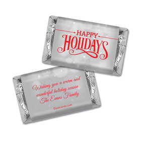 Happy Holidays Personalized Hershey's Miniatures Wrappers Happy Holidays Snowy Scroll