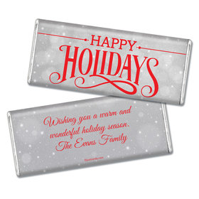 Happy Holidays Personalized Chocolate Bar Happy Holidays Snowy Scroll