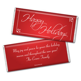 Happy Holidays Personalized Chocolate Bar Classic Holiday Wish