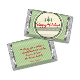 Happy Holidays Personalized Hershey's Miniatures Wrappers Three Trees Happy Holidays