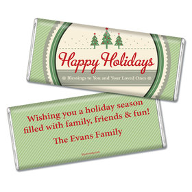 Happy Holidays Personalized Chocolate Bar Three Trees Happy Holidays