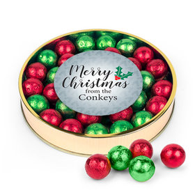 Personalized Merry Christmas Red & Green Caramel Filled Foil Balls Large Plastic Tin