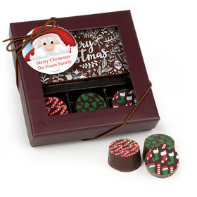 Personalized Christmas Santa Gourmet Belgian Chocolate Bar and Truffles - 3 Truffles
