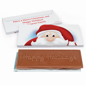 Deluxe Personalized Christmas Peeking Santa Chocolate Bar in Gift Box