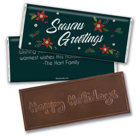 Personalized Christmas Pointsettia Seasons Greetings Embossed Chocolate Bar & Wrapper