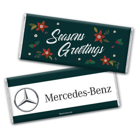 Personalized Christmas Add Your Logo Pointsettia Seasons Greetings Chocolate Bar & Wrapper