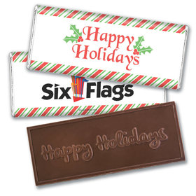 Personalized Happy Holidays Add Your Logo Embossed Chocolate Bar & Wrapper