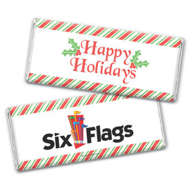 Personalized Happy Holidays Add Your Logo Chocolate Bar & Wrapper