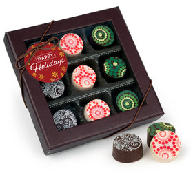 Happy Holidays Gourmet Belgian Chocolate Truffle Gift Box - 9 Truffles