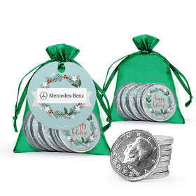 Personalized Chocolate Coins in Organza Bags with Gift Tag - Decorative Wreath Add Your Logo