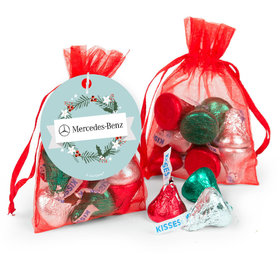 Personalized Hershey's Kisses in Organza Bags with Gift Tag - Christmas Decorative Wreath Add Your Logo