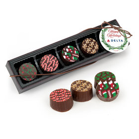 Personalized Gourmet Belgian Chocolate Truffle Gift Box - Christmas Winter Greenery Add Your Logo