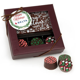 Personalized Happy Holidays Winter Greenery Add Your Logo Gourmet Belgian Chocolate Bar and Truffles - 3 Truffles