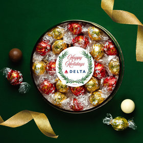 Personalized Happy Holidays Winter Greenery Large Plastic Tin with Lindor Truffles by Lindt - 24pcs