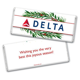 Personalized Christmas Winter Greenery with Logo Chocolate Bar & Wrapper