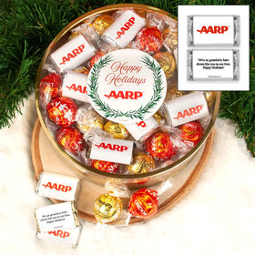 Personalized Hershey's Miniatures and Lindt Truffles Add Your Logo Extra-Large Plastic Tin - 1 lb