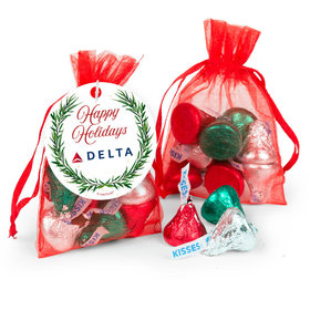 Personalized Hershey's Kisses in Organza Bags with Gift Tag - Happy Holidays Snowflakes Add Your Logo