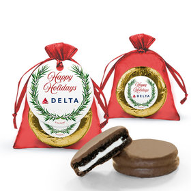 Personalized Chocolate Covered Oreo Cookies Happy Holidays Snowflakes Add Your Logo in Organza Bags with Gift Tag