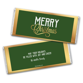 Personalized Golden Merry Christmas Chocolate Bar & Wrapper