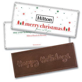 Personalized Christmas Simple Snowflakes with Logo Embossed Chocolate Bar & Wrapper