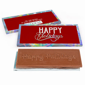 Deluxe Personalized Modern Holidays Add Your Logo Embossed Chocolate Bar in Metallic Gift Box