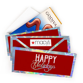 Deluxe Personalized Christmas Modern Holidays Add Your Logo Godiva Chocolate Bar in Metallic Gift Box (3.1oz)