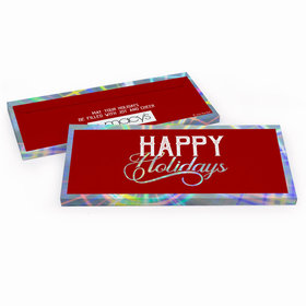 Deluxe Personalized Modern Holidays Add Your Logo Chocolate Bar in Metallic Gift Box