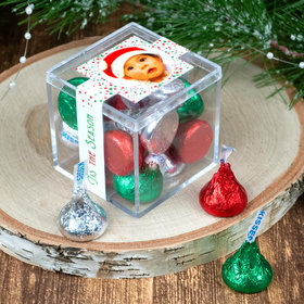 Personalized Christmas JUST CANDY® favor cube with Hershey's Kisses
