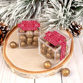 Personalized Christmas Wonderous Wishes JUST CANDY® favor cube with Premium Sparkling Prosecco Cordials - Dark Chocolate