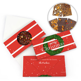 Personalized Christmas Snowy Wreath Gourmet Infused Belgian Chocolate Bars (3.5oz)