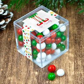 Personalized Christmas Naughty or Nice JUST CANDY® favor cube with Sixlets Chocolate
