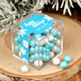 Personalized Christmas Wintry Wishes JUST CANDY® favor cube with Sixlets Chocolate