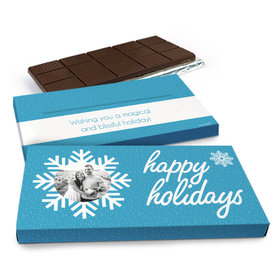 Deluxe Personalized Christmas Wintry Wishes Chocolate Bar in Gift Box (3oz Bar)