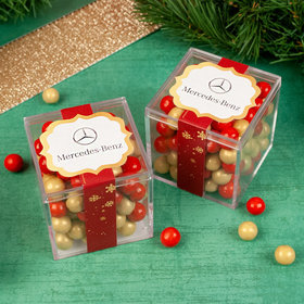 Personalized Golden Happy Holidays JUST CANDY® favor cube with Sixlets Chocolate