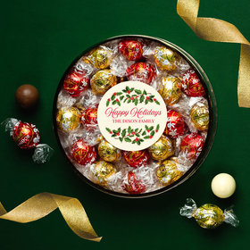 Personalized Happy Holidays Large Plastic Tin with Lindor Truffles by Lindt - 24pcs