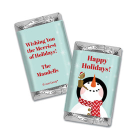 Christmas Personalized Hershey's Miniatures Wrappers Happy Holidays Snowman