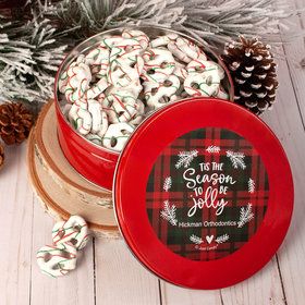 Personalized Christmas Plaid Holidays Tin with Holiday Yogurt Pretzels - 1 lb