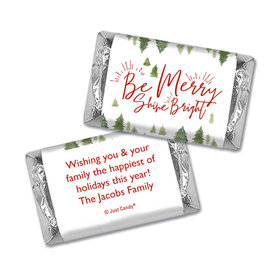 Christmas Personalized Hershey's Miniatures Wrappers Christmas Be Merry Shine Bright